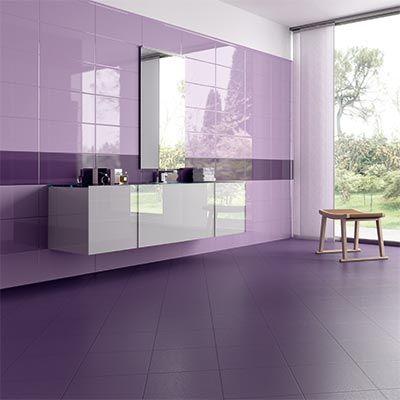 Carrelage sdb violet en fa ence mosa que nuances for Carrelage mural sdb