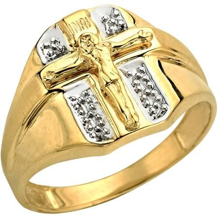 Crucifix Cross Ring In 10kt Yellow Gold Size 10 Size 10 Rings Rings For Men Mens Gold Wedding Band