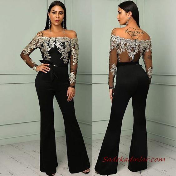 2020 Bayan Abiye Tulum Modelleri Siyah Tek Omzu Acik Diger Kol Yirtmac Detayli 2020 Moda Stilleri Parti Elbisesi Kiyafet