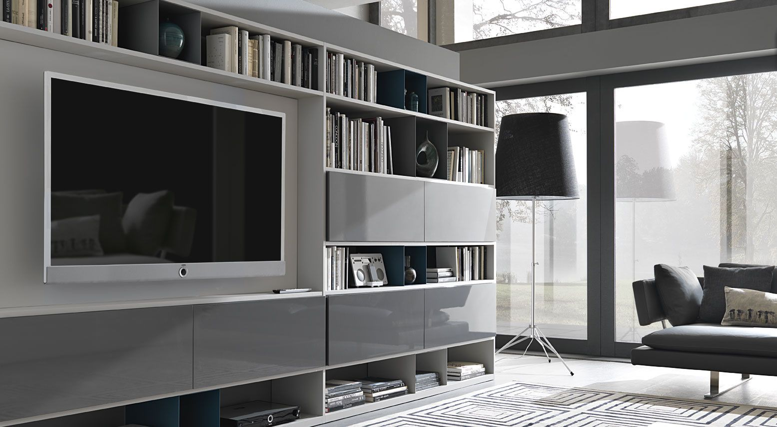 Contemporary Tv Wall Unit Metal Lacquered Modular Urban By  # Ensemble Mural Tv