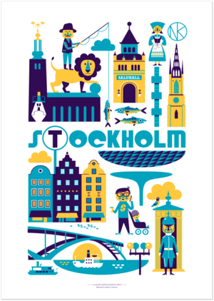 Stockholm Print  A delightful illustration of Stockholm through the eyes of Ingela P Arrhenius. £18.00