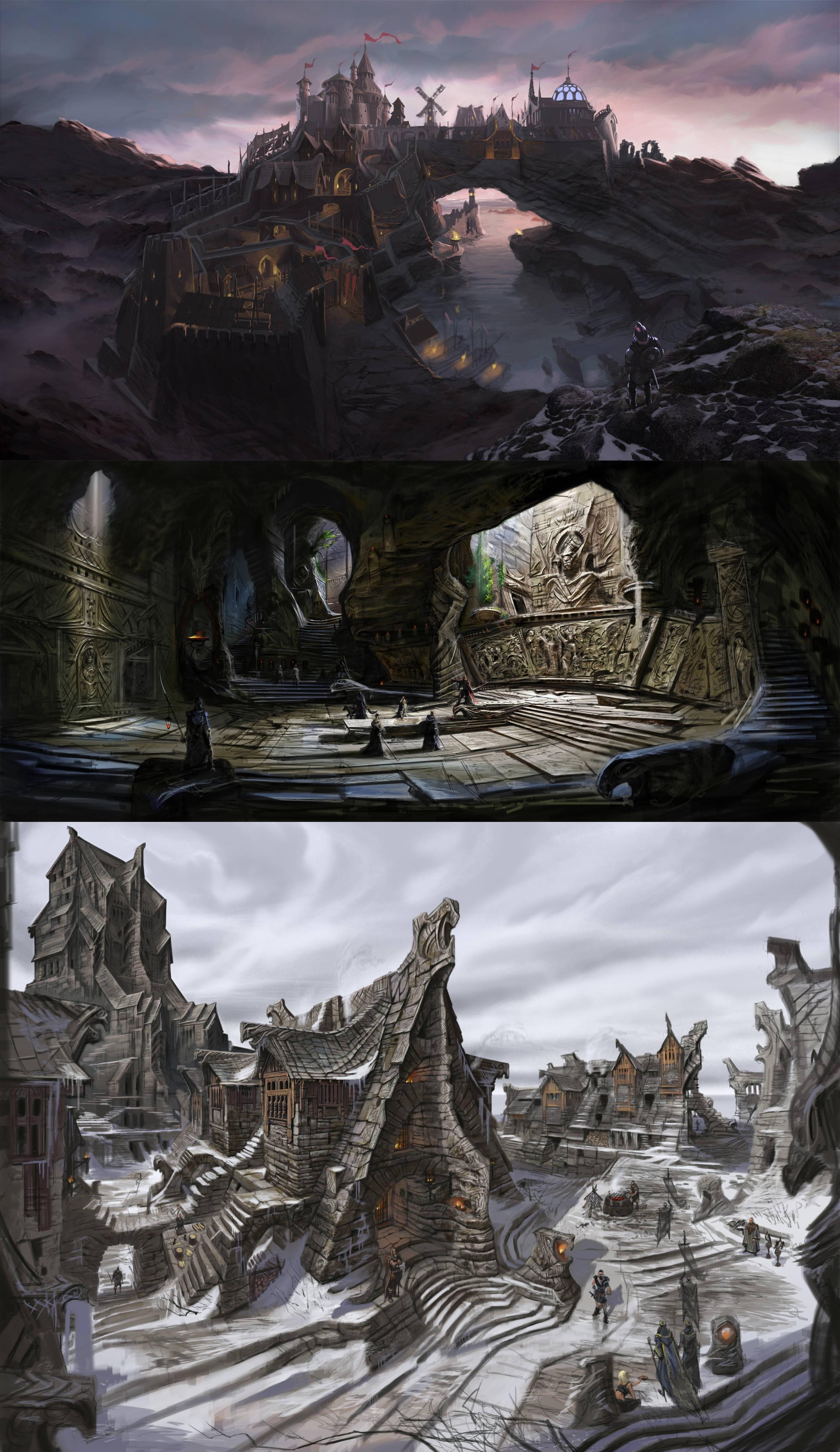 The elder scrolls v, skyrim, concept art, city, solitude ...