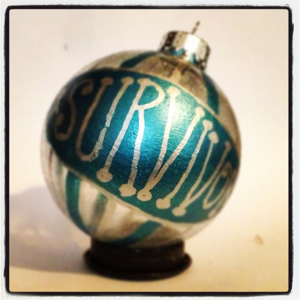 Hand painted glass ornament just in time to order for Christmas!! $9.99 Shown in teal. Available in purple and blue.