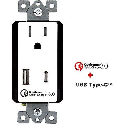 TOPGREENER Quick Charge 3.0 USB C Wall Outlet 15 Amp Receptacle ...