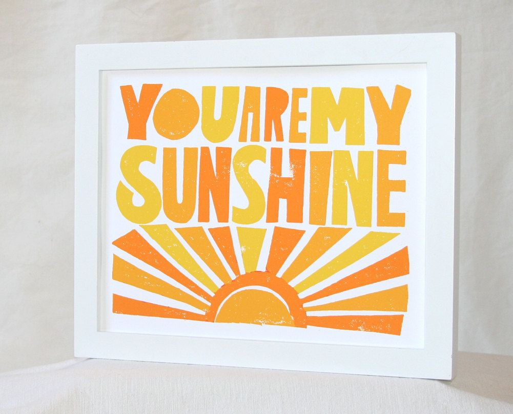 You are my Sunshine, Baby Nursery Wall Art, Typography, Sunshine ...