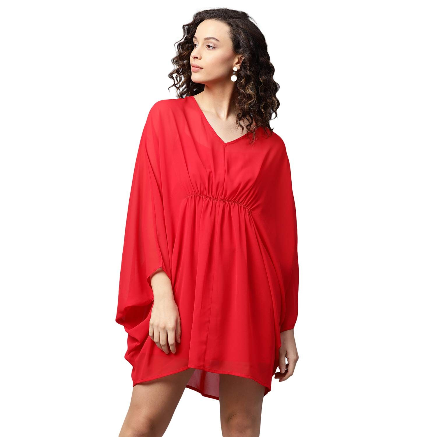 d61c328882d FEMELLA Women s Red Front Gathered Mini Dress