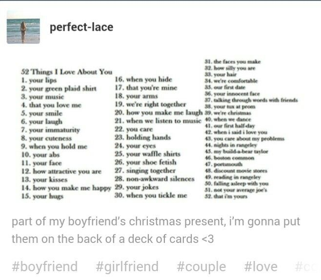 Cute 52 Things I Love About You List Reasons I Love You 52 Reasons Why I Love You Reasons Why I Love You