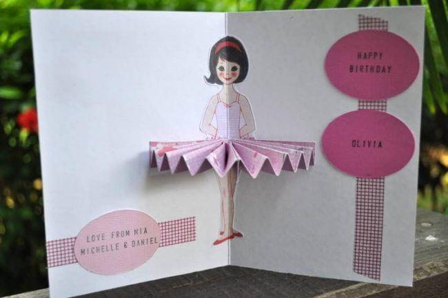 Geburtstagskarten Basteln Kinder Einfach Geburtstagskarte Ballerina
