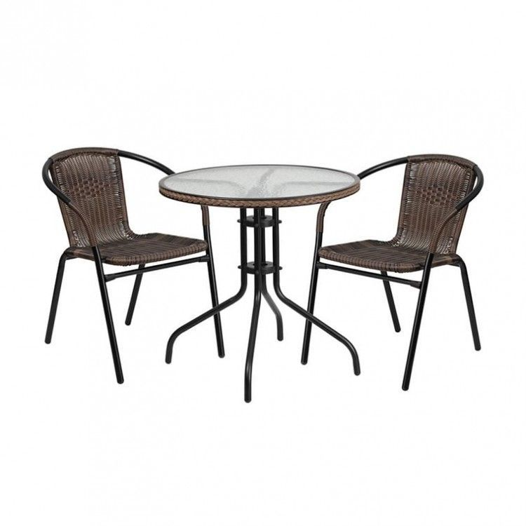 Outdoor Wicker Patio Furniture Set Table And Chairs Round Bistro