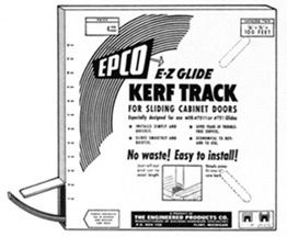 "Kerf Track: Plastic kerf track for sliding cabinet doors. Packaged 100 ft. in a dispenser box. Roll out and cut to length. For use on light weight doors. Simple installation by press fitting into a 1/8"" saw kerf. Glides, two to a door, are mortised into bottom of door. Sliding action is always sure, easy and quiet. $50.84"
