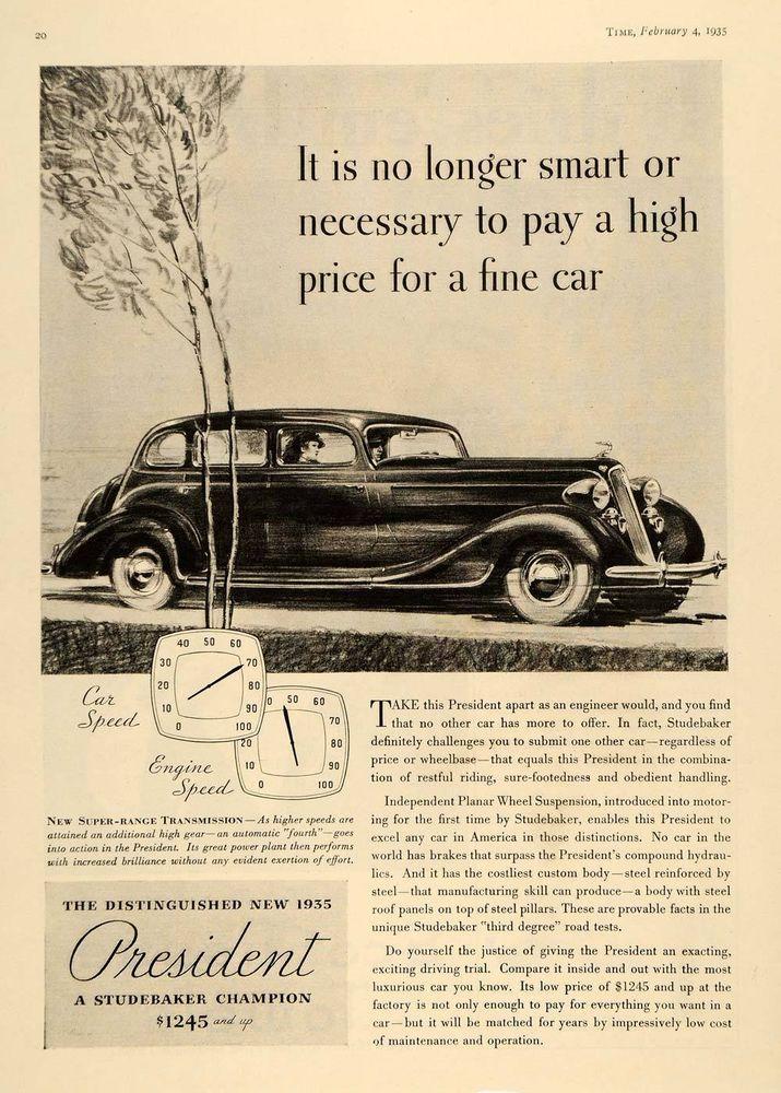 1935 Ad Vintage Studebaker President Gauges Pricing - ORIGINAL ...