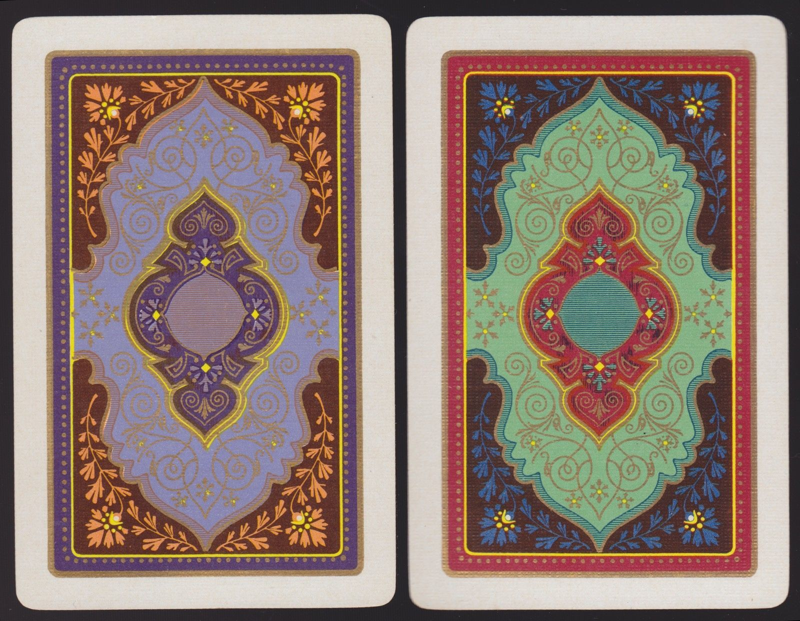 2 SINGLE VINTAGE SWAP PLAYING CARDS US ART DECO DESIGNS PURPLE GREEN GOLD DET | eBay