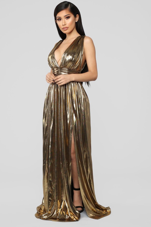 I'm His Queen Maxi Dress Gold Gold maxi dress, Shiny