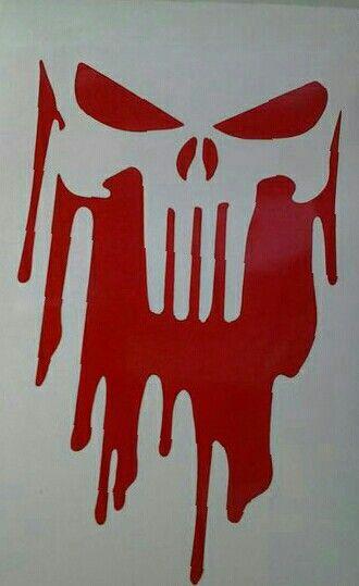 Punisher SKULL TESCHIO MANO Tatuaggio BLUD Adesivo ADESIVI STICKER 15x10cm