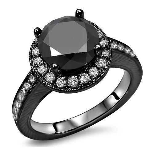 Noori Certified 14k Black Gold 2 15ct TDW Black Round Diamond Halo - http://blackdiamond-rings.com/noori-certified-14k-black-gold-2-15ct-tdw-black-round-diamond-halo/