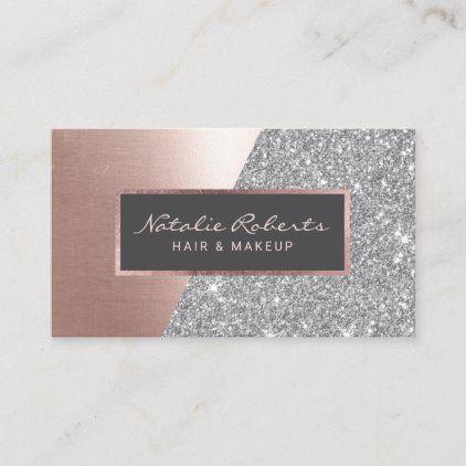 Rose Gold Silver Glitter Modern Beauty Salon Spa Business Card   Zazzle.com