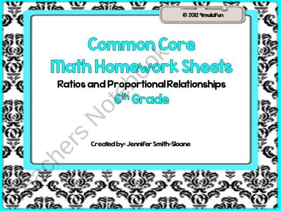 6th Grade Common Core Math Practice Sheets- Ratios & Proportional ...