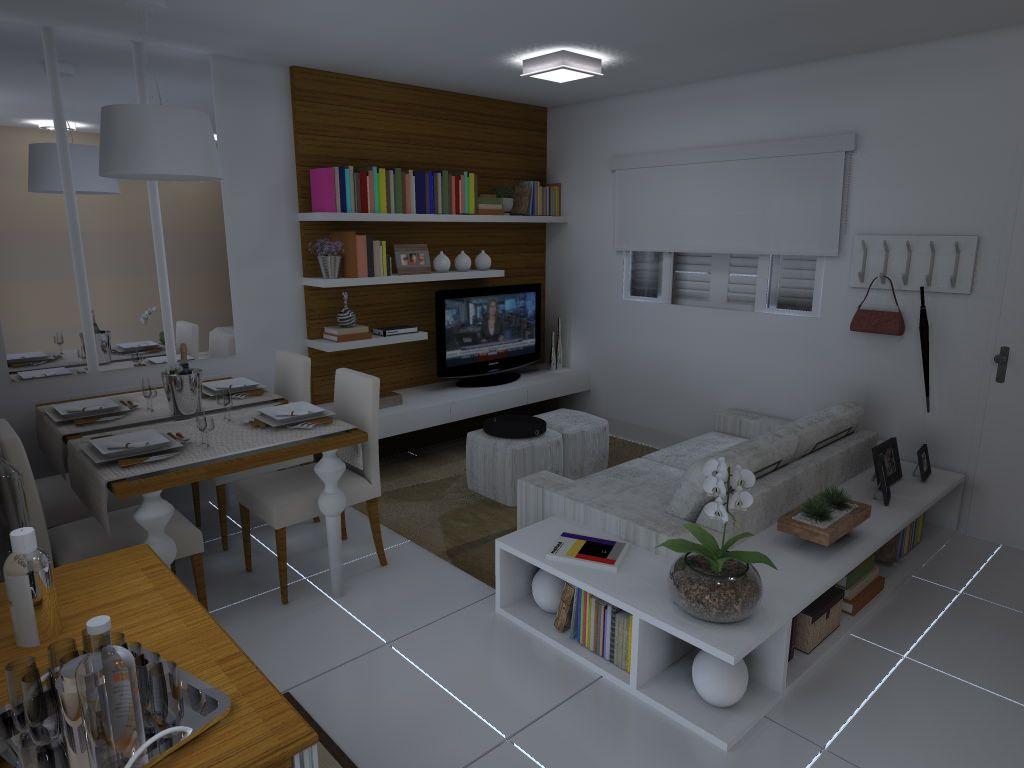Sala quadrada pequena dois ambientes