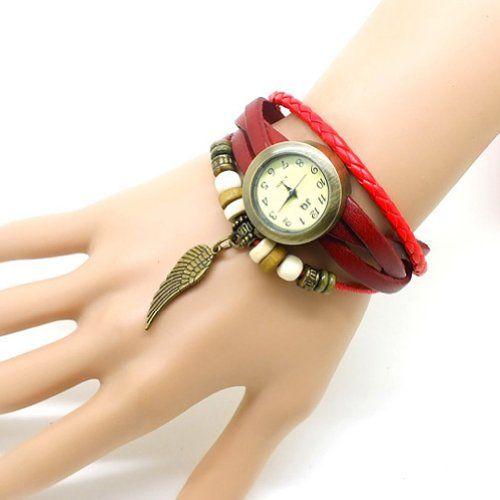Amazon.com: Wine Red Unisex Punk Rock Classic Feather Tassel Weave Wrap Around Leather Bracelet Quartz WristWatch: Jewelry