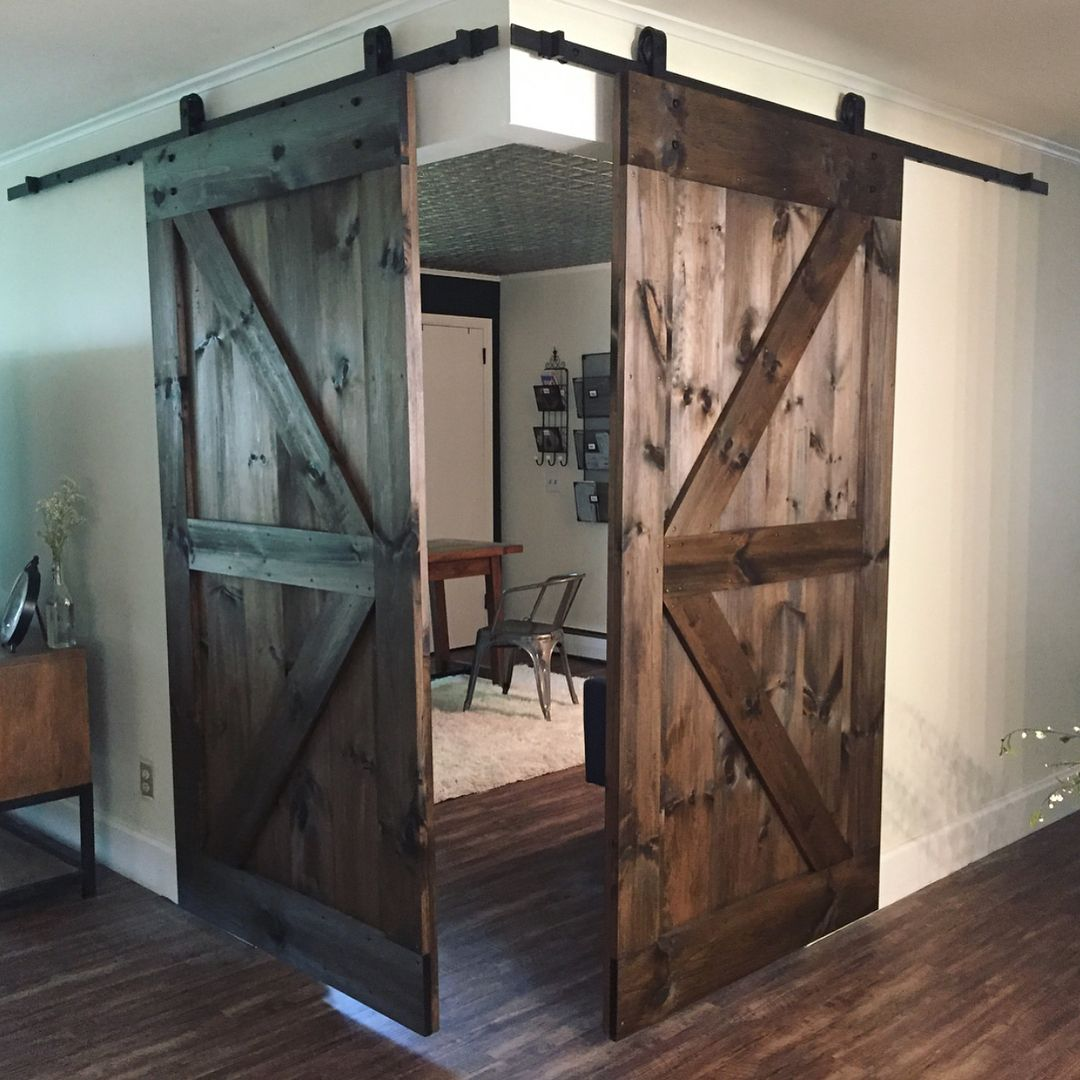 Two Of Our British Brace With Border Barn Doors Being Used To Close Off This Beautiful Corner Offic Interior Barn Doors Diy Barn Doors Sliding Rustic Barn Door