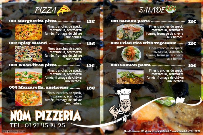 Pin by PosterFrance Gratuit on Flyer pour restaurant Pinterest - Sample Pizza Menu Template
