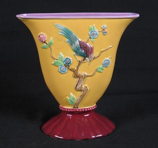 Czech Majolica Bird Vase (unsigned)