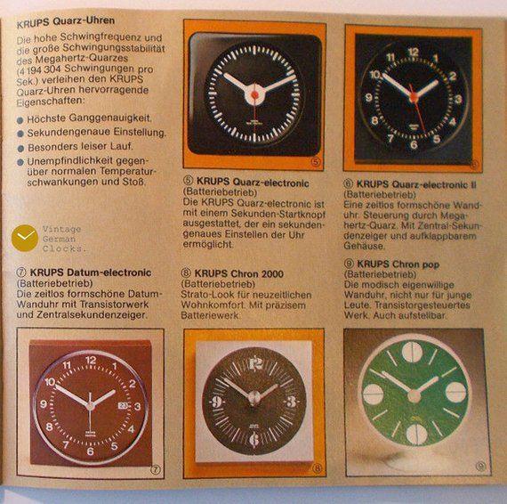 1970s Krups Wall Clock Matted Black Bauhaus Style Germany Panton
