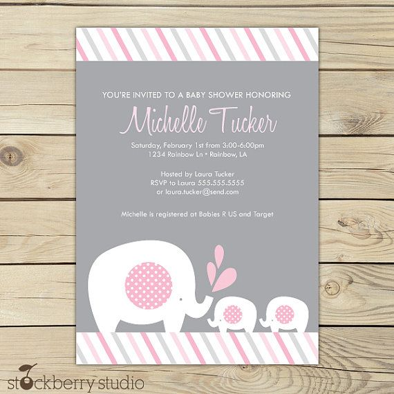 Girl Twins Baby Shower Invitation Printable - Twin Elephant Baby - printable baby shower invite