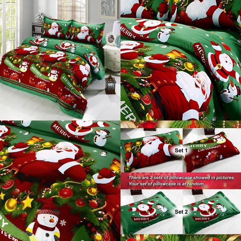 Comfort Santa Claus Bedding Sets Merry Christmas Soft Warm Cartoon