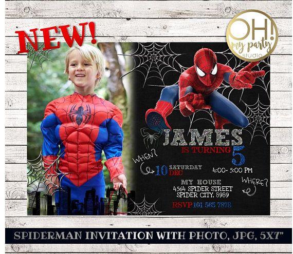 NEW Spiderman Birthday invitation with photo spiderman invitation
