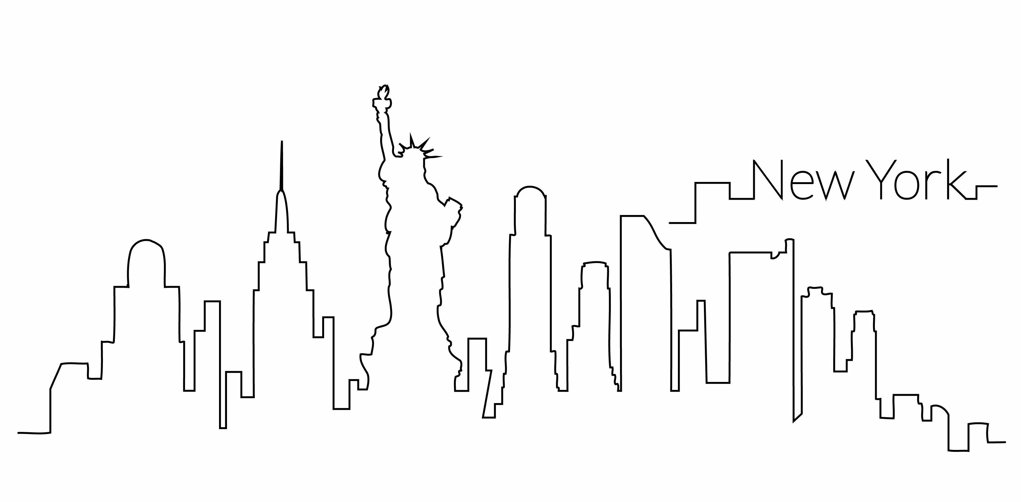 Horizonte De Nueva York Esquema Nueva York Pintura Dibujos De Contorno Tatuaje De Nueva York