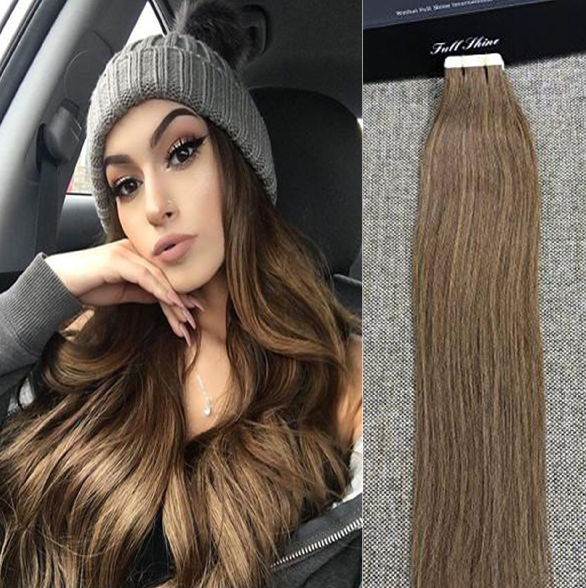 Ash brown thick tape hair extensions human hair full shine shop ash brown thick tape hair extensions human hair full shine shop on pmusecretfo Gallery