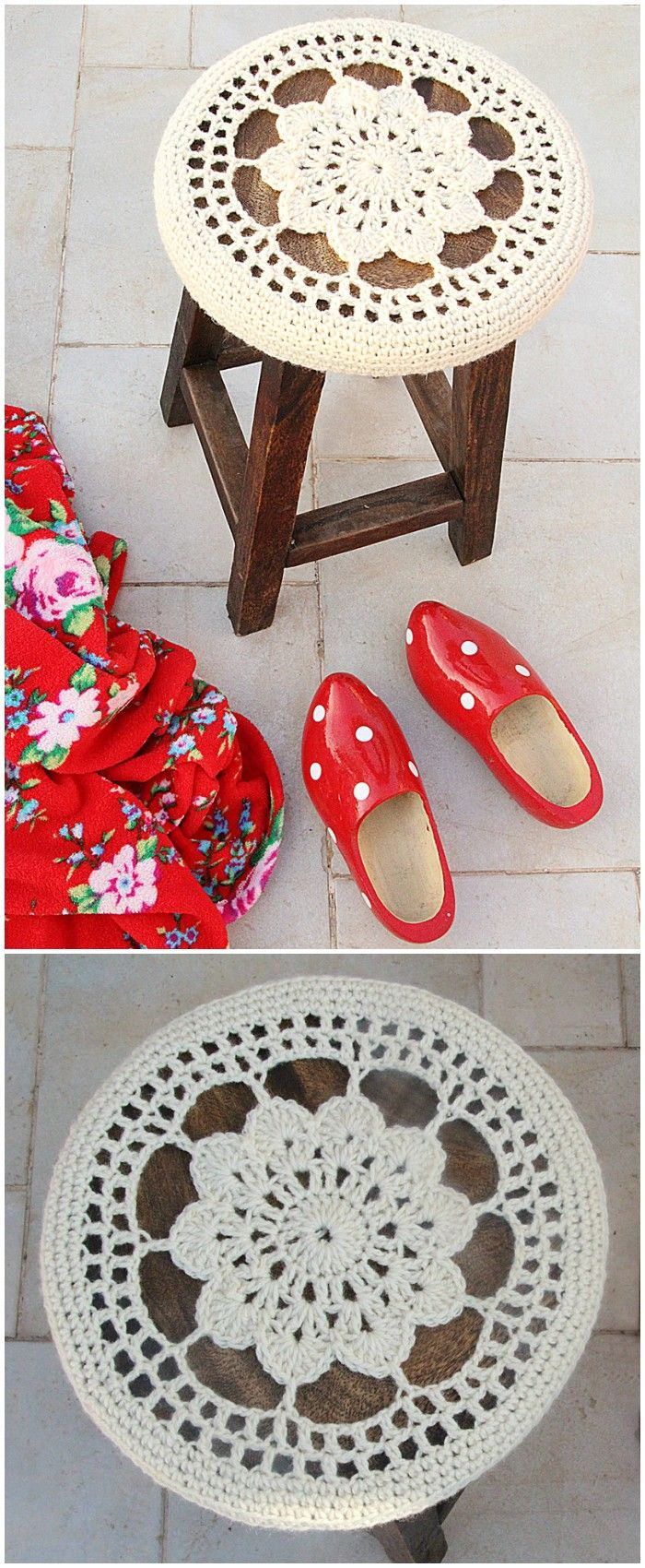 Easy Free Crochet Home Decor Patterns | Stool Covers, Free Crochet And  Crochet