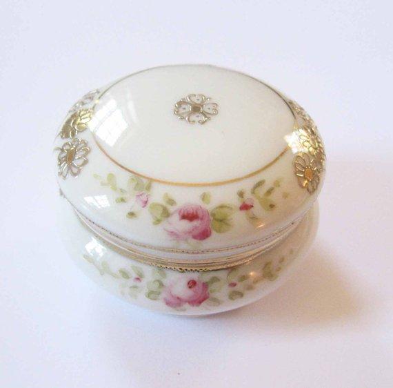 Antique Morimura Noritake Porcelain Trinket Box Gold Glaze Etsy Trinket Boxes Porcelain Noritake