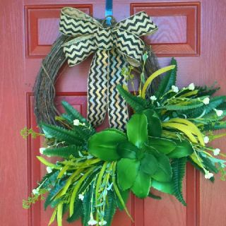 My wreath updated with a burlap chevron bow :)