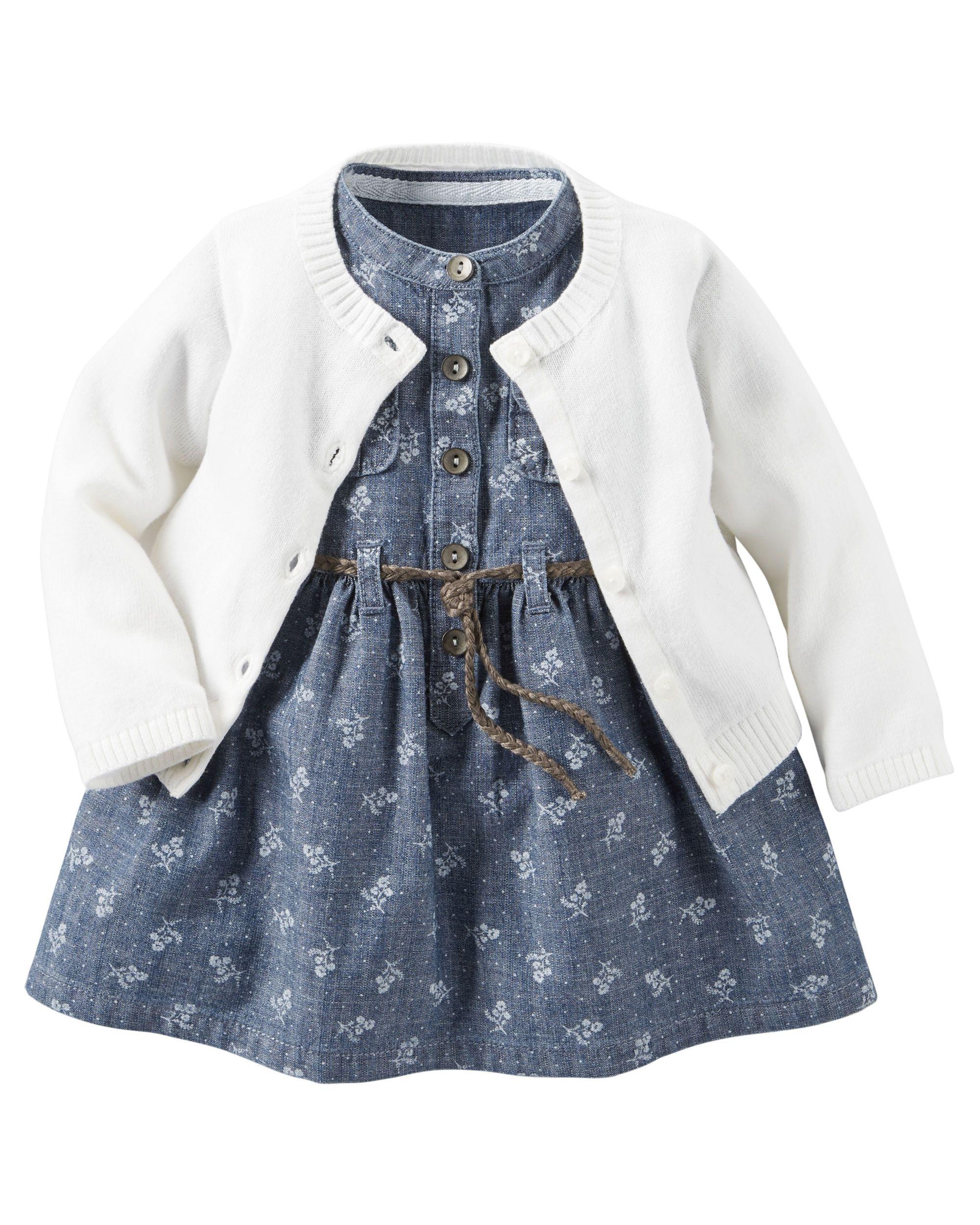 2 Piece Chambray Dress & Sweater Set