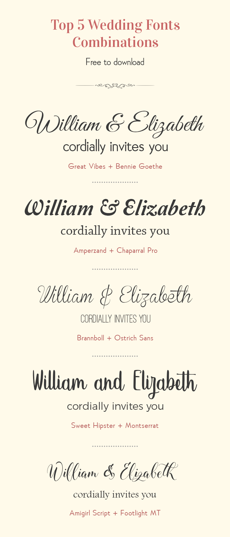 TOP 5 WEDDING FONT COMBINATIONS Font combinations