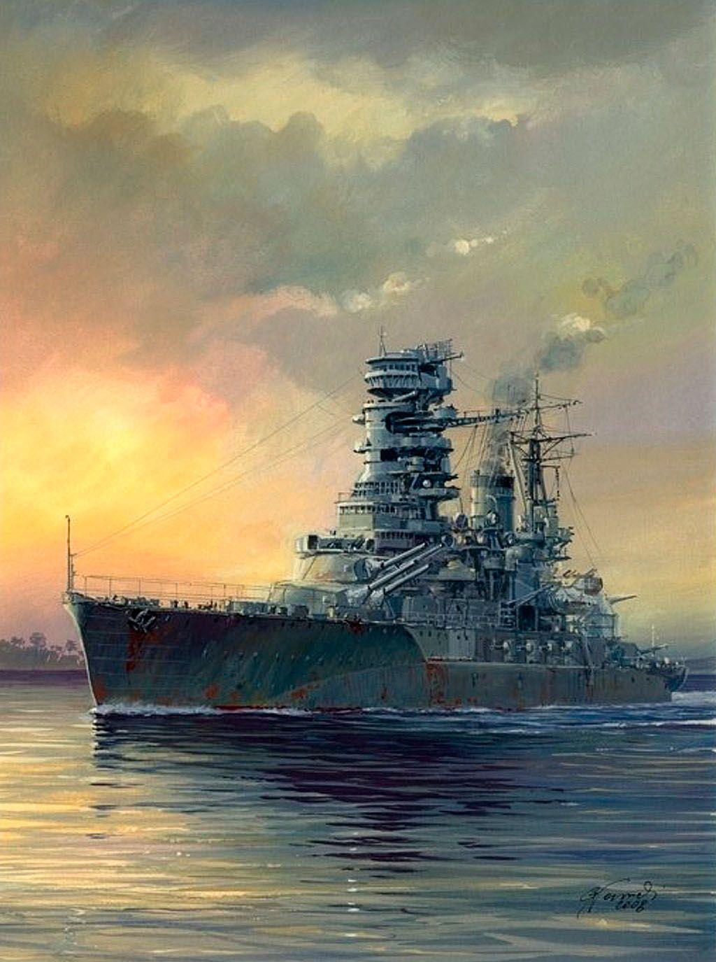 戦艦長門と夕日の壁紙