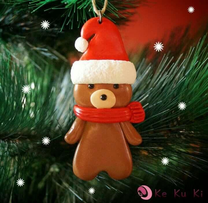 Osito Navidad Para Colgar En El árbol Fimo Polymer Clay Diy Christmas Ornaments Christmas Ornaments Christmas Diy