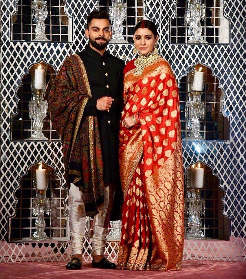 Virat Kohli & Anushka Sharma Wedding Reception || Virushka || Bollywood  Bride - Traditional Red… in 2020 | Reception sarees, Virat kohli and anushka,  Indian wedding outfits