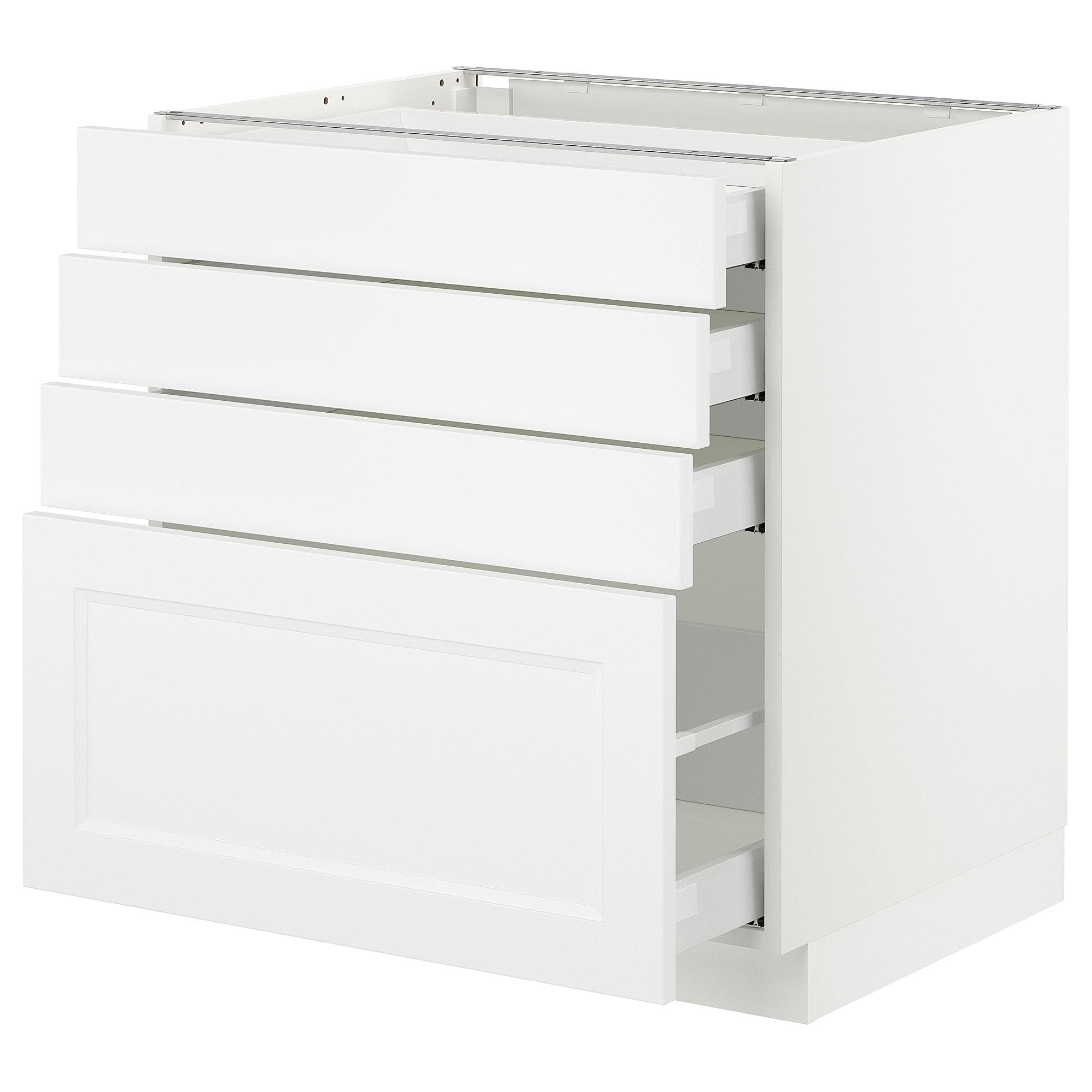 Sektion Base Cabinet With 4 Drawers White Maximera Axstad Matt