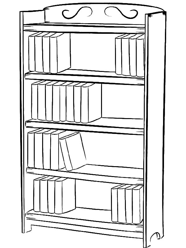 How To Draw Bookshelf Coloring Pages Best Place To Color Simple Bookshelf Bookshelves Library Drawing