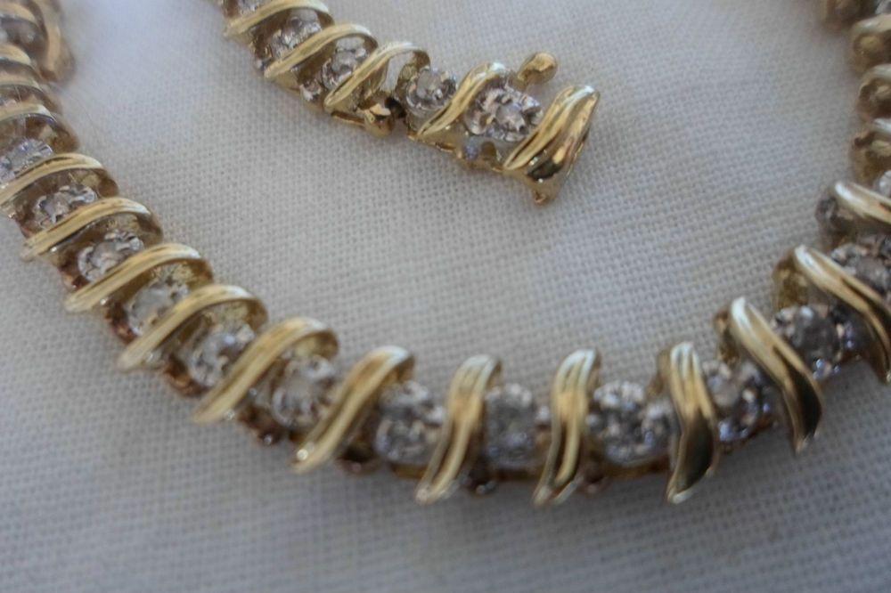 Vintage 10k Yellow Gold Diamond Tennis Bracelet 10 9 G 7 25 Inch 0 60 Carat Tennis Bracelet Diamond Tennis Bracelet Gold Diamond