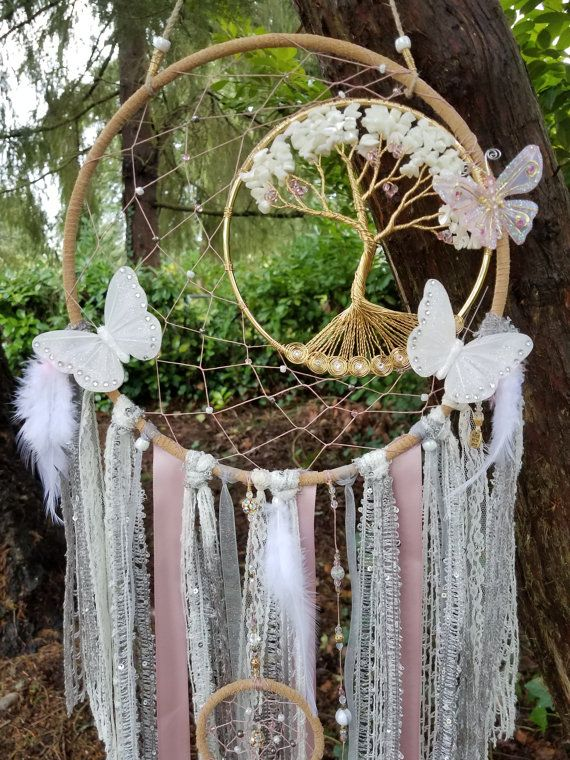 Arbre de vie dream catcher papillons croissant lune m re de cr ation pinterest catcher - Attrape reve arbre ...