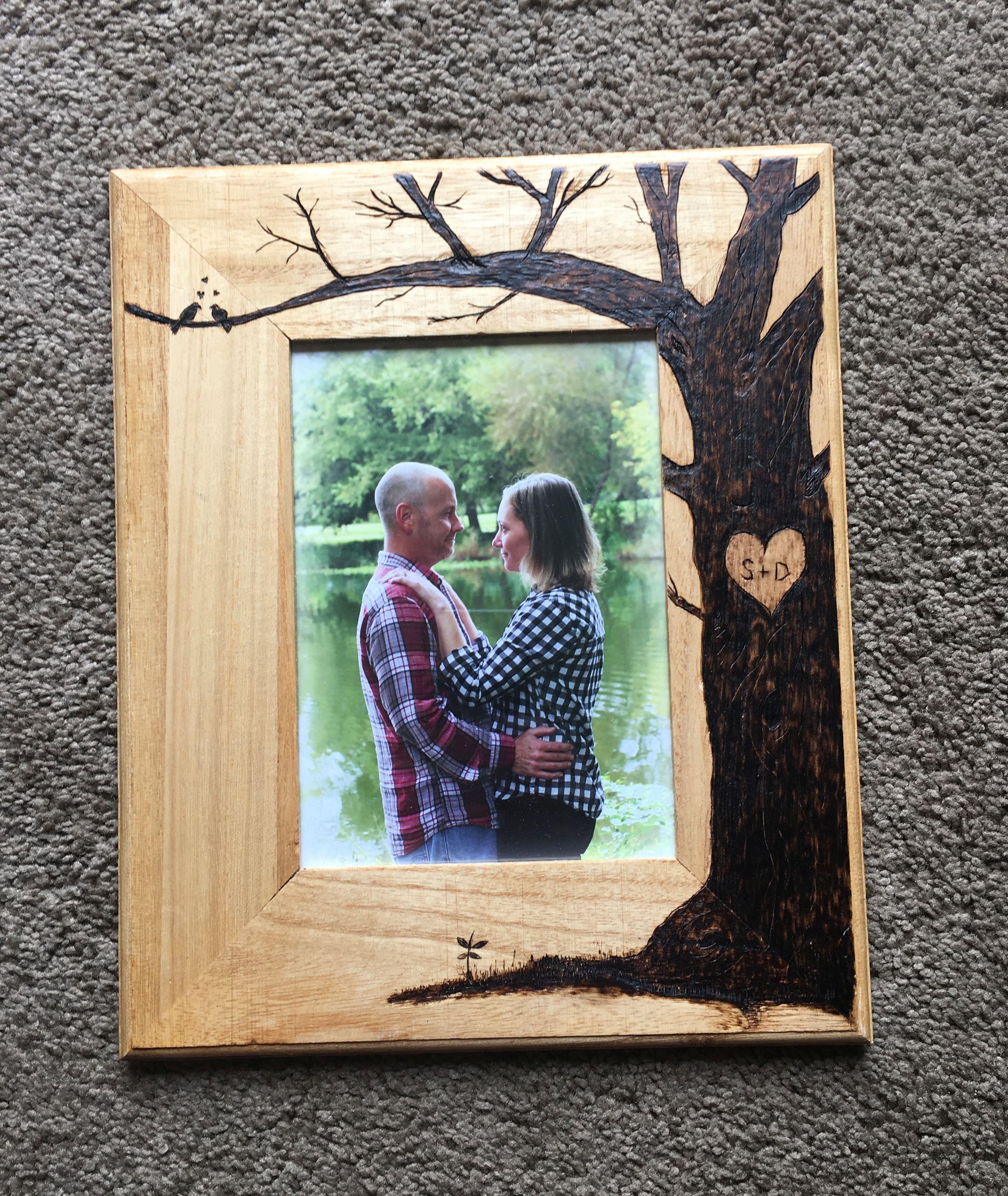 Keystone Vintage Custom Wood Burned Wedding Picture Frame Unique