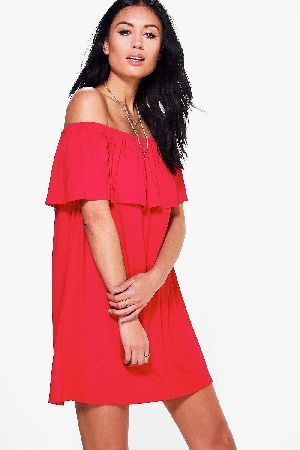 a327632dff36 #boohoo Off The Shoulder Swing Dress - red DZZ83798 #Pared back day dresses  are the perfect base for layering up this seasonNo off-duty wardrobe is  complete ...