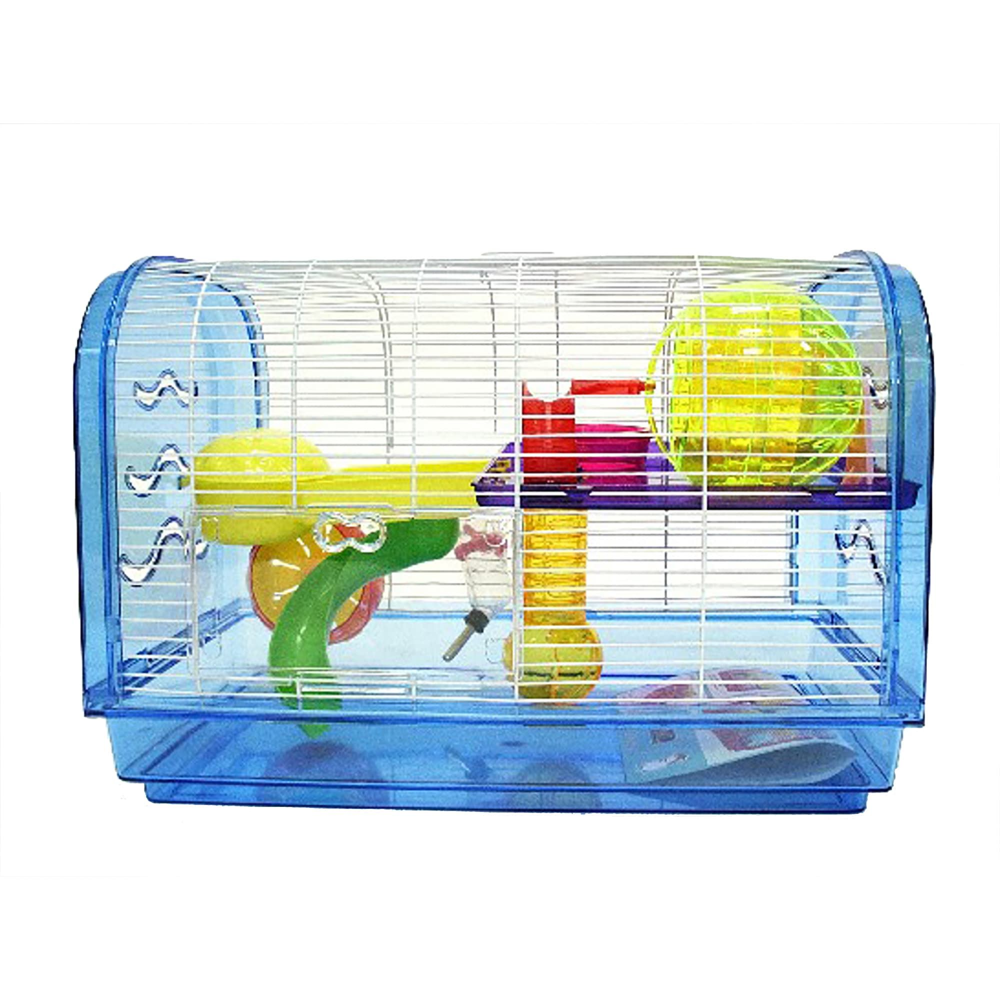YML Clear Plastic Dwarf Hamster Mice Blue Cage Dome with