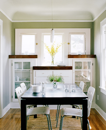 Small Dining Room Built In Cabinets Glass Fronts Modern Table White Chairs Windows Base Board Trim