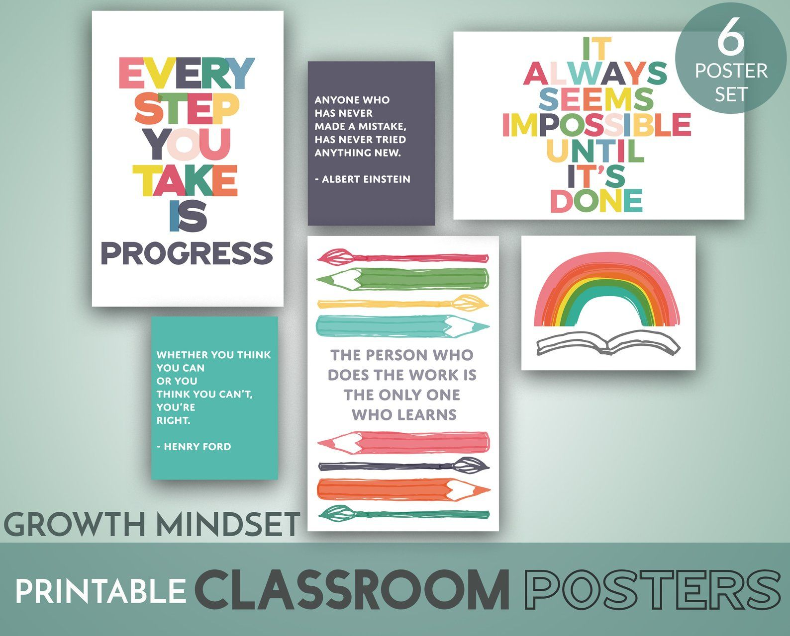 Classroom Posters Printable Set Of 6 Growth Mindset Digital Art Prints In 8 5x11 And 11x17 Size Classroom Decor Instant Download Classroom Posters Digital Art Prints Posters Printable