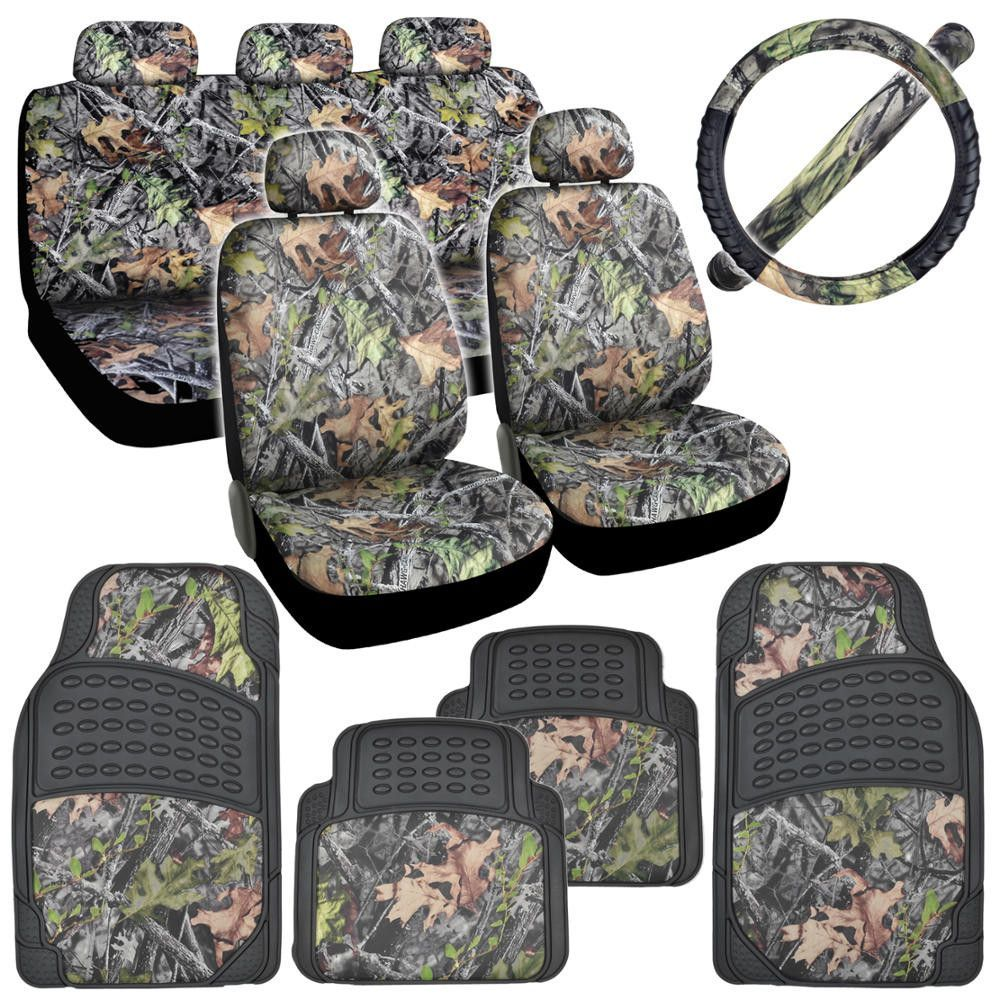 Camo Seat Covers Heavy Duty Rubber Floor Mats Steering Wheel Cover Combo Pack